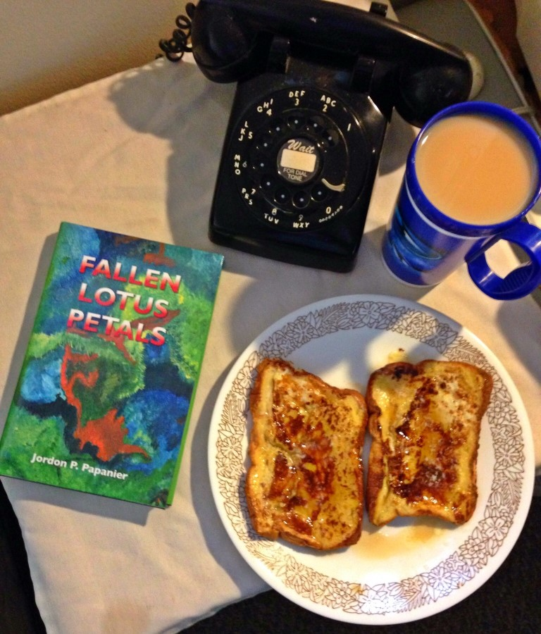 Some French Toast to go with your domestic fast pass thriller book Fallen Lotus Petals